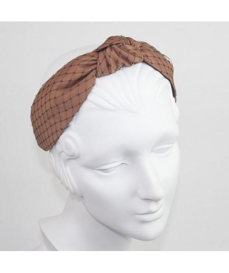 Cocoa Satin Covered Black Veiling Blair Headband