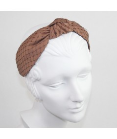 Cocoa Satin Covered Black Veiling Blair Headband