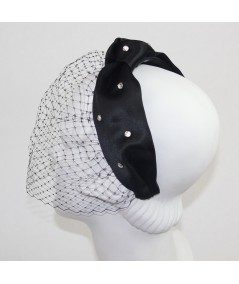 Satin Turban with Birdcage Face Veil Fascinator