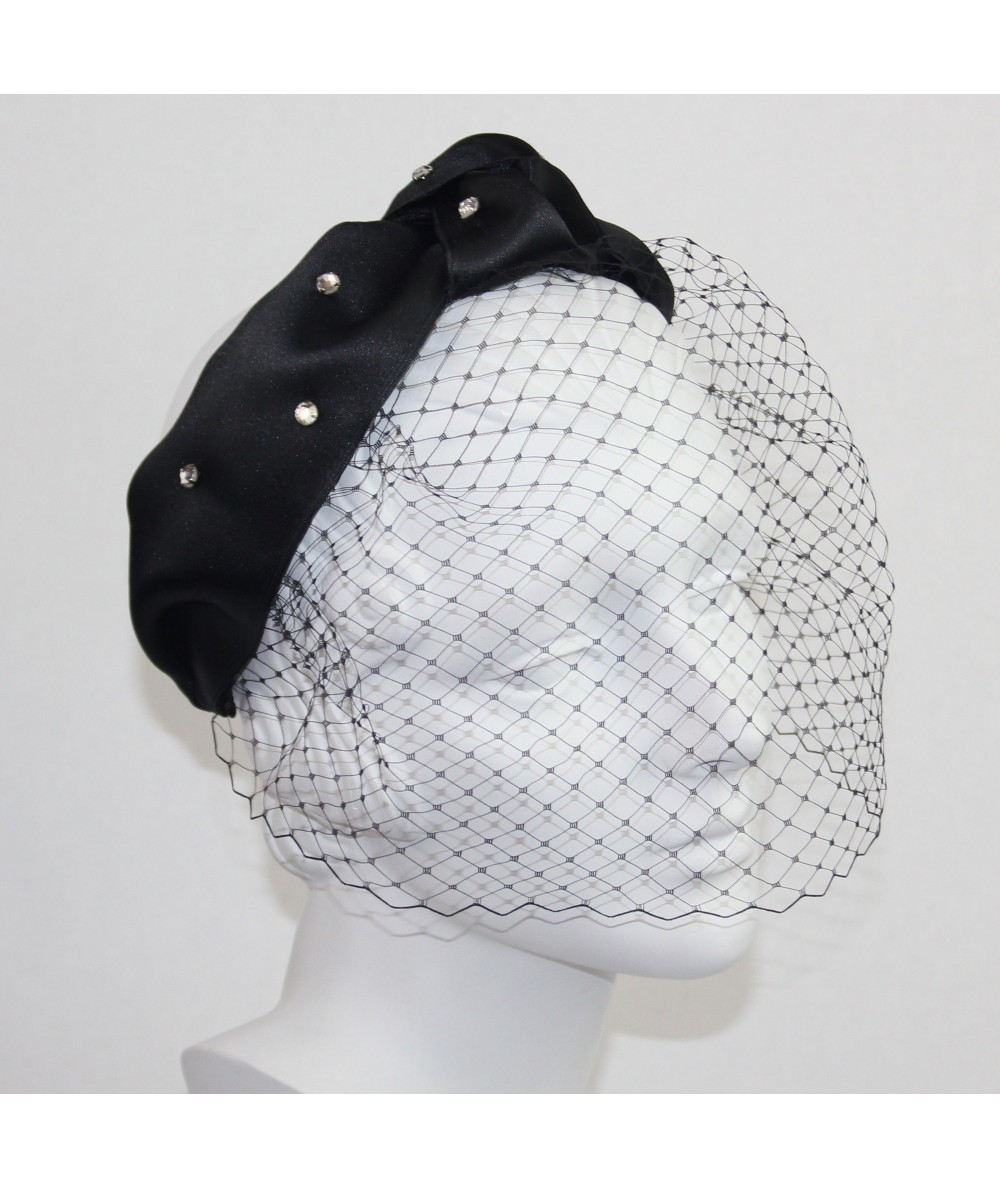 Satin Turban with Rhinestones and Birdcage Face Veil Fascinator