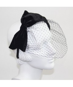 Double Velvet Bow Fascinator Birdcage Face Veil