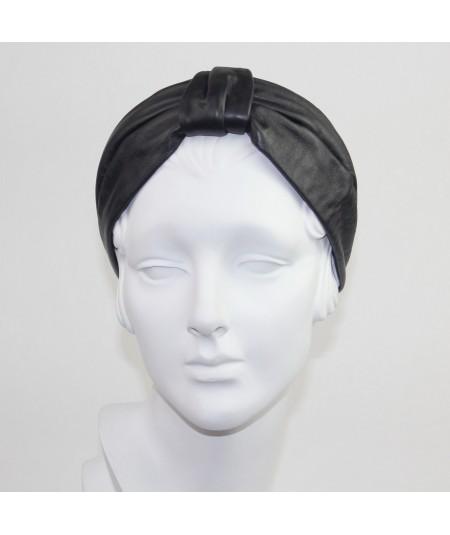 Black Leather Draper Headband
