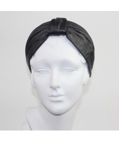 Black Leather Draper Headband