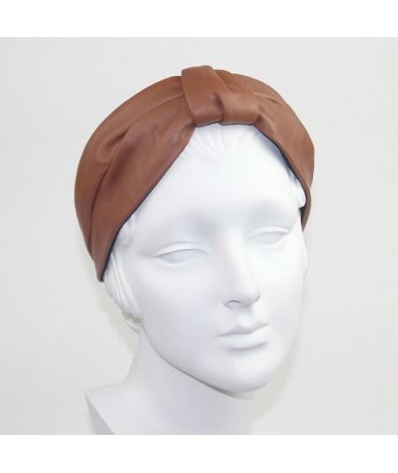 English Tan Leather Draper Turban  Headband