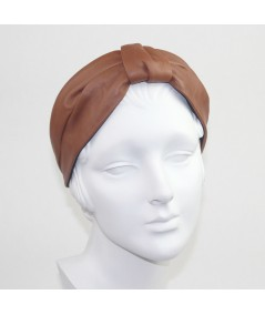 English Tan Leather Draper Turban Headband