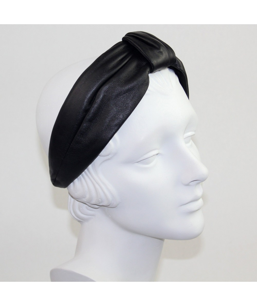 Black Leather Draper Turban Headband
