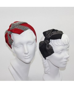 Bengaline with Boucle Carolina Bow Headband - Cardinal with Spectator - Black with Winter Dots