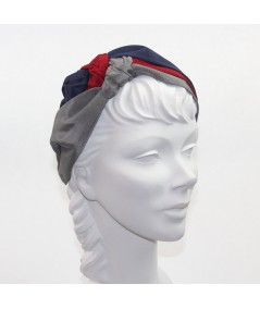 Navy Red Grey Bengaline Sophia Turban Headpiece