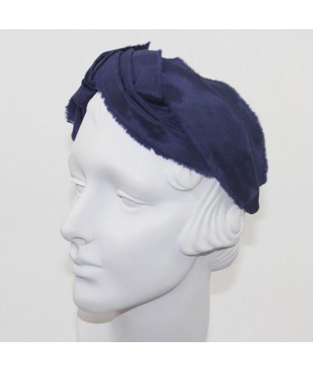 Navy Bengaline Frayed Turban Headband