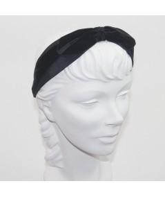 Black Bengaline & Black Velvet Bow Headband