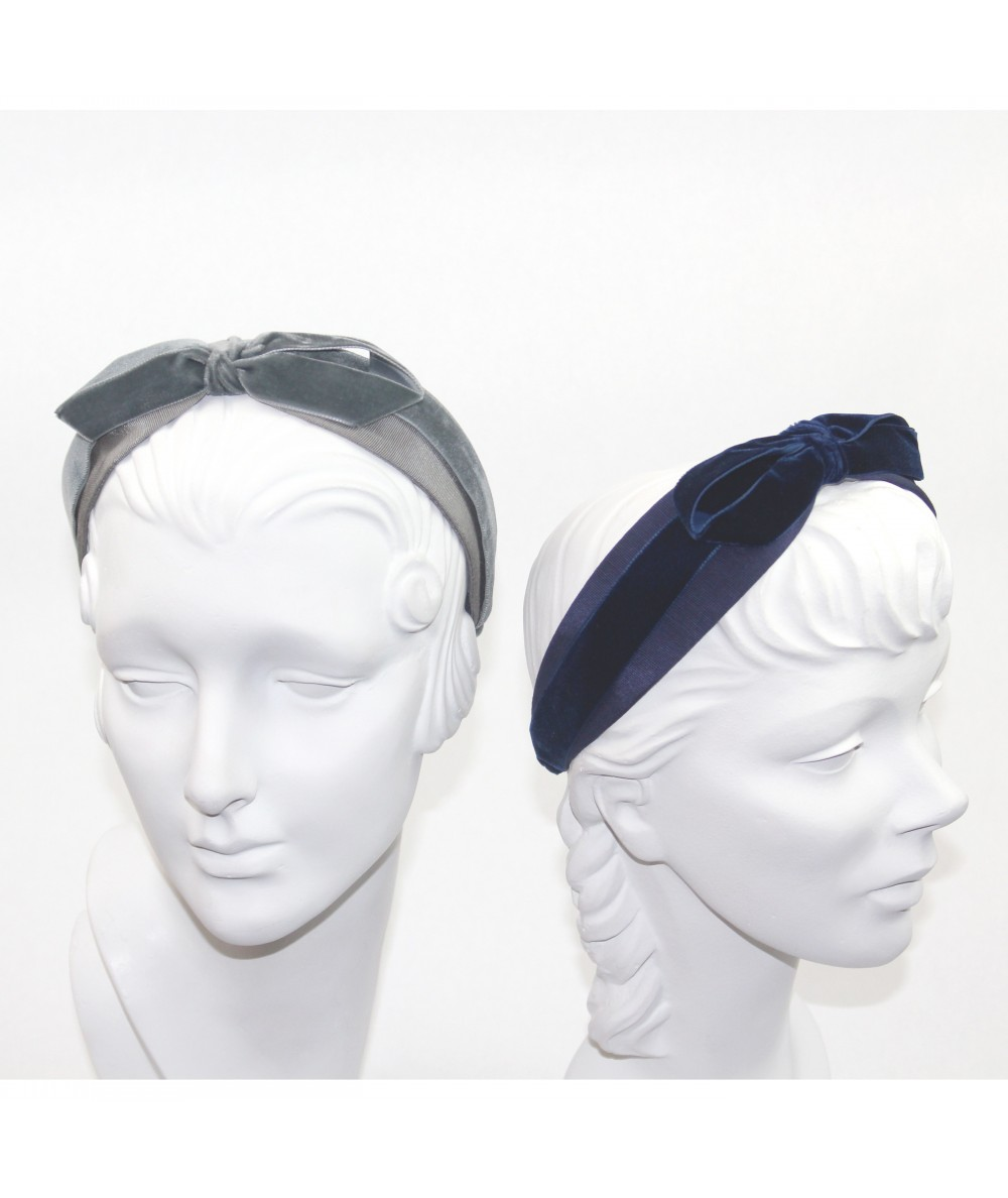 Bengaline & Velvet Bow Headband - Steel Grey with Gris Fonce - Navy