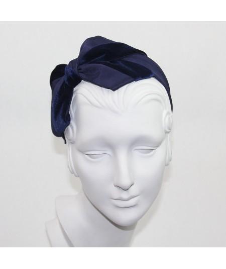 Navy Bengaline & Navy Velvet Carolina Bow Headband