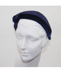 Navy Bengaline & Navy Velvet Side Turban Headband