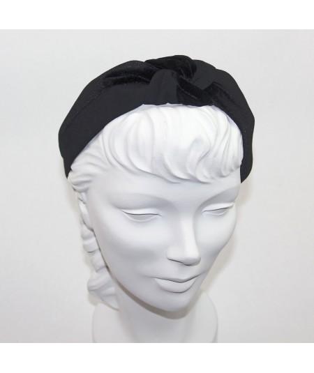 Black Bengaline & Black Velvet Center Turban Headband