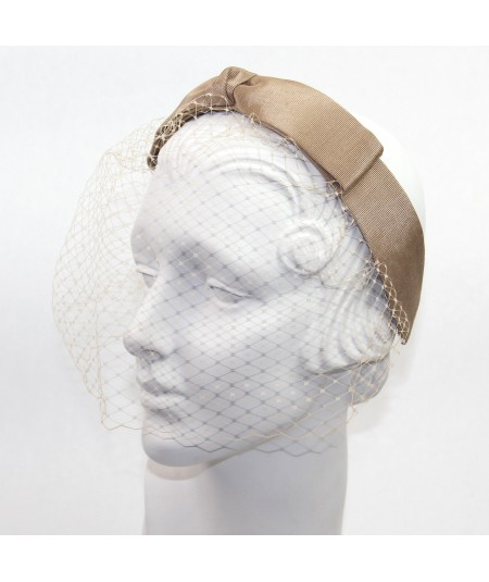 Pecan Bengaline Center Bow Face Veil