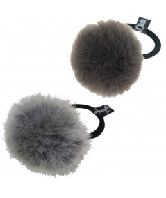 Faux Fur Pom Pom Hair Elastic - Grey & Charcoal