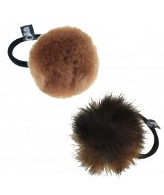 Faux Fur Pom Pom Hair Elastic - Beige & Brown