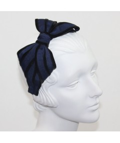 Navy with Black Bow Headband