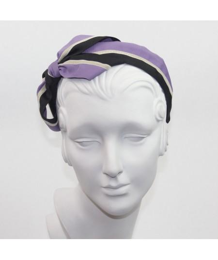 Two Toned Grosgrain Black - Lavender & Beige Velvet Stripe Carolina Bow Headband