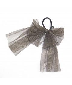 Dark Gold Metallic Tulle Bow Ponytail Holder