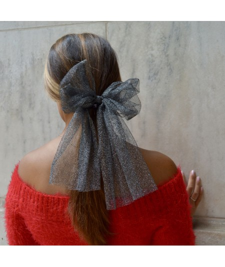 Dark Silver Metallic Tulle Bow Ponytail Holder