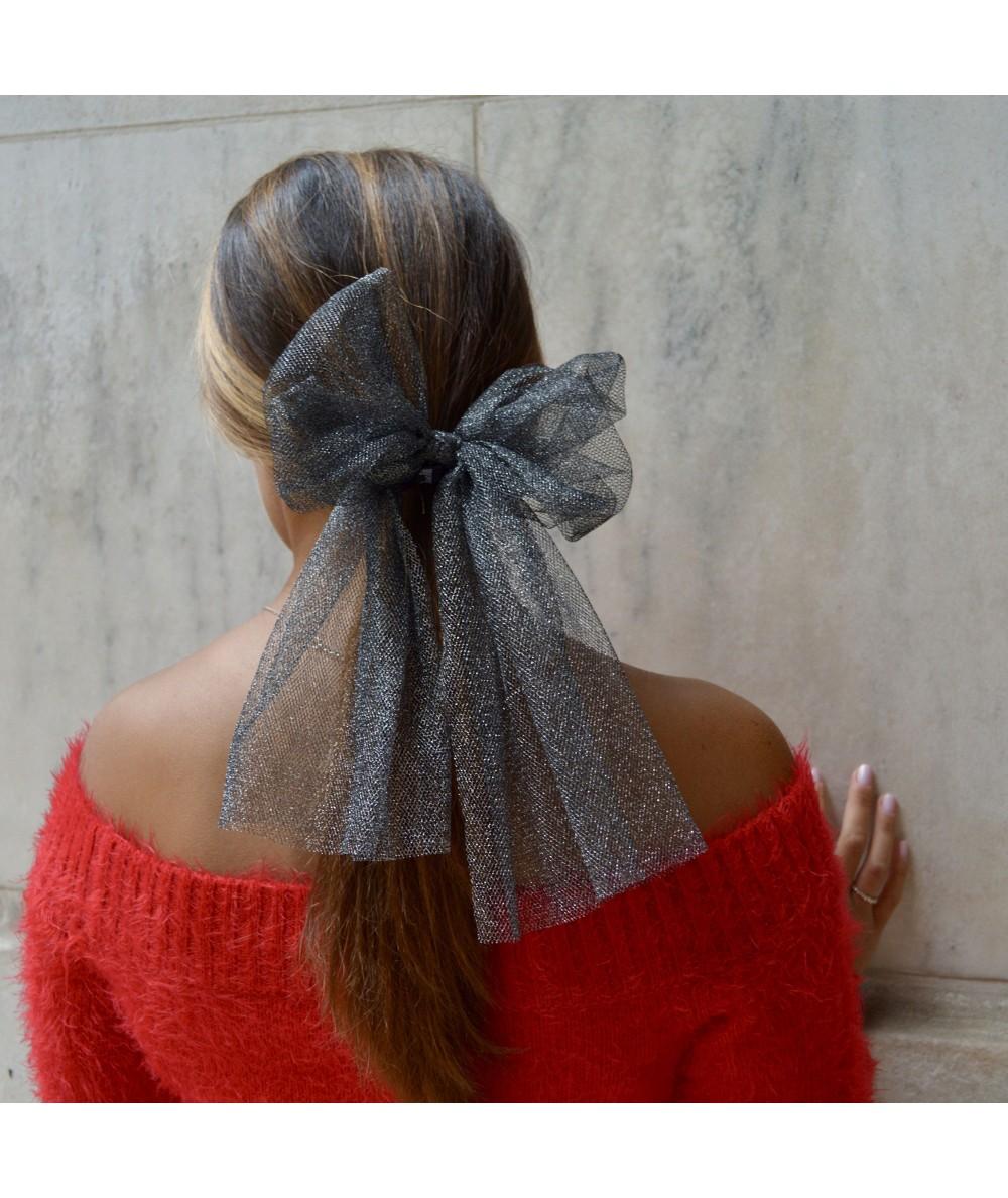 Dark Silver Metallic Tulle Bow Ponytail Holder