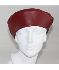 Dark Red leather beret