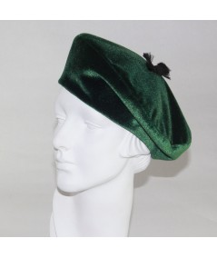 Velvet Beret with Frayed Grosgrain Detail