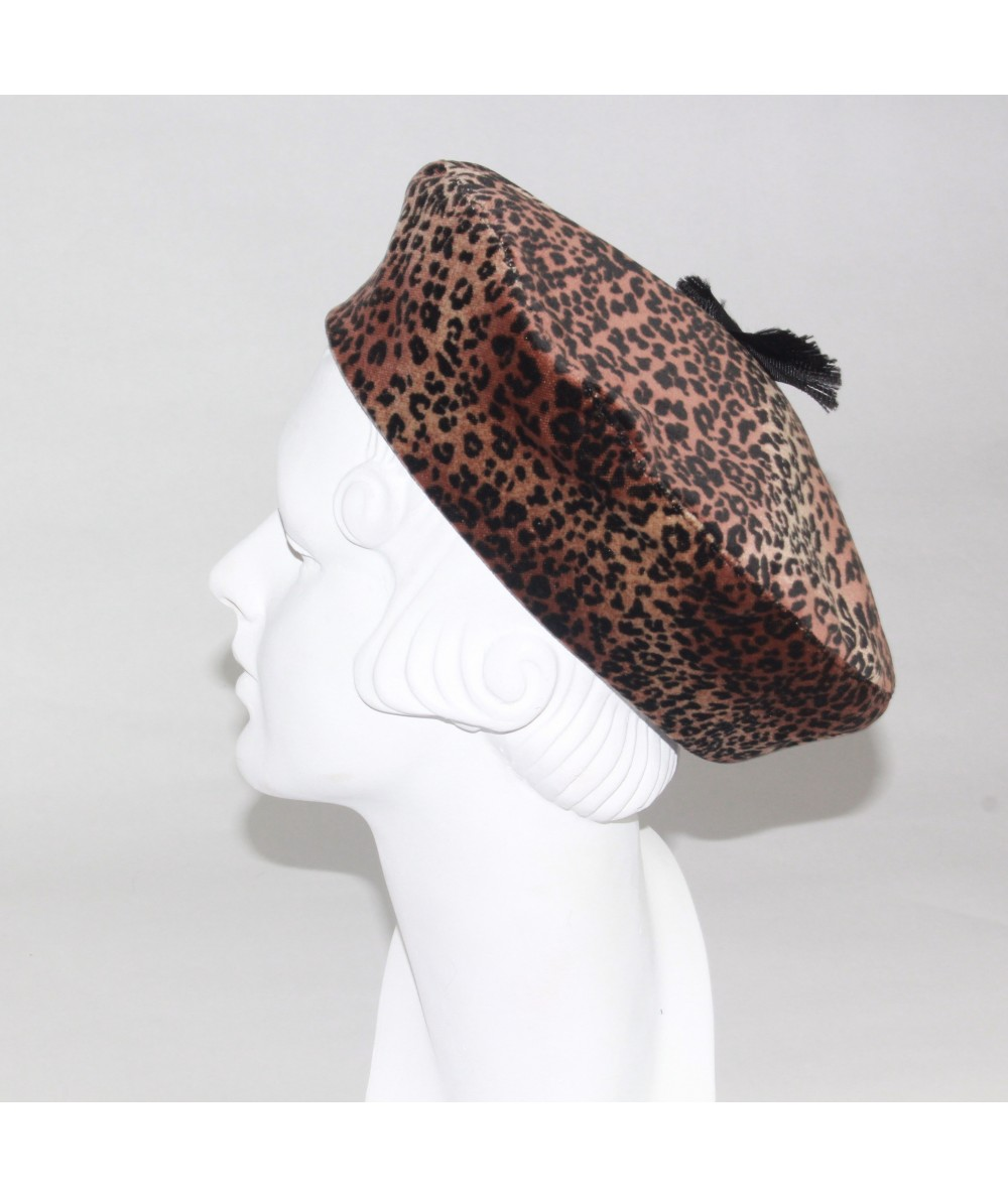 Leopard Velvet Beret