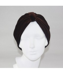 Brown with Black Reversible Velvet Turban Hat