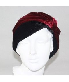 Burgundy with Black Reversible Velvet Turban Hat