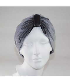 Grey with Black Reversible Velvet Turban Hat