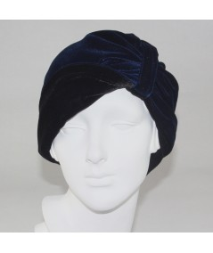 Black with Navy Reversible Velvet Turban Hat