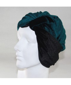 Teal with Black Reversible Velvet Turban Hat