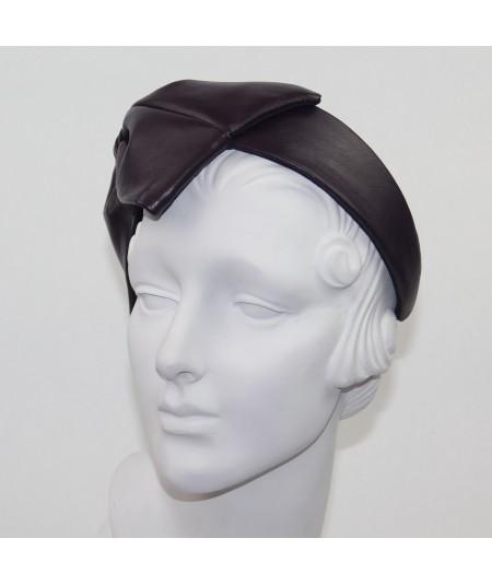 Amethyst Leather Bow Headpiece