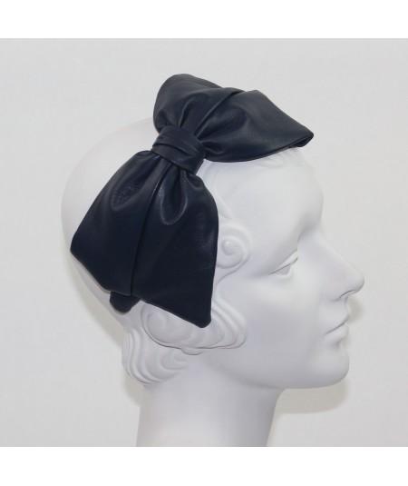 Light Navy Leather Bow Headpiece