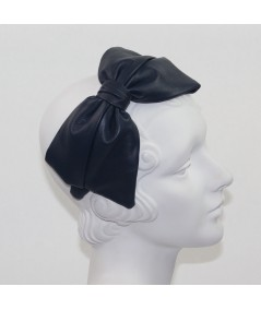 Light Navy Leather Bow Headpiece
