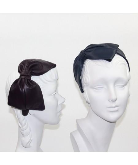 Amethyst - Light Navy Leather Bow Headpiece