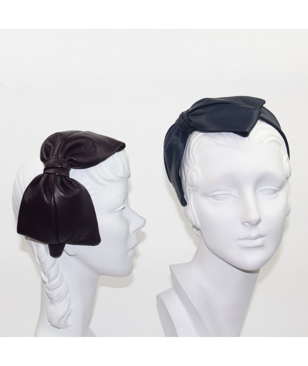 Amethyst - Light Navy Leather Bow Headpiece