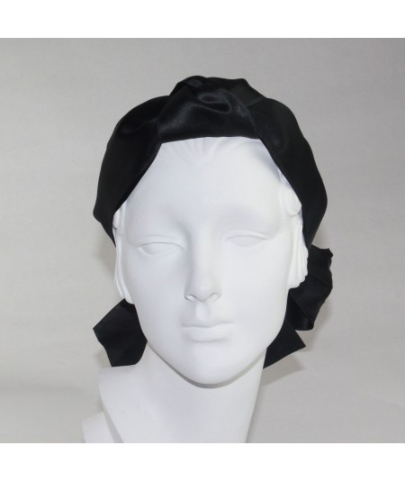 Black Satin Turban Scarf