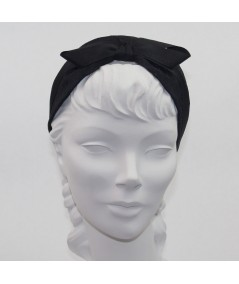 Satin Covered Extra Wide Headband with Center Grosgrain Bow