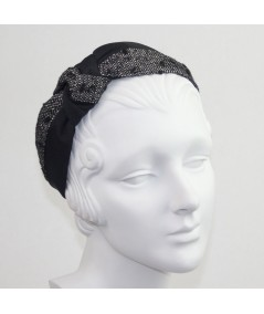 Black Bengaline and Winter Dots Boucle Side Turban Headband