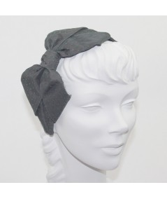 Charcoal Satin Covered Dark Green Veiling Carolina Bow Headband