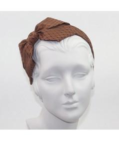 Cocoa Satin Covered Black Veiling Carolina Bow Headband