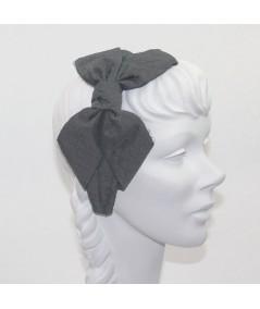 Charcoal Satin Covered Black Veiling Carolina Bow Headband
