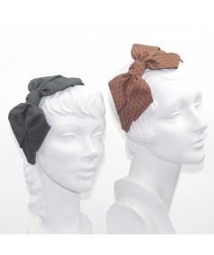 Satin Covered Veiling Carolina Bow Headband - Charcoal with Dark Green - Cocoa with Black