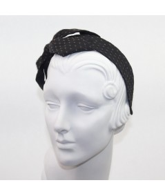 Black Satin Covered Brown Veiling Carolina Bow Headband