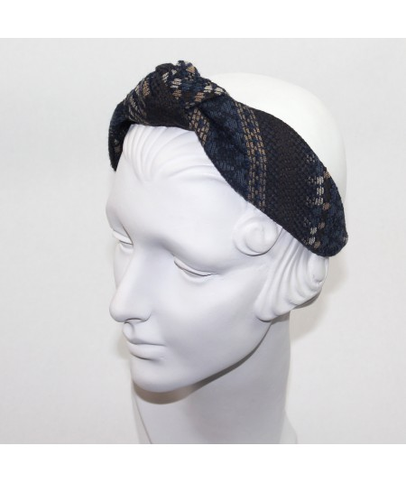 Nordic Boucle or Tweed Wool Center Turban Headband