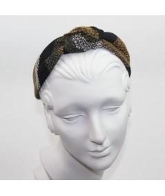 Winter Stripe Boucle or Tweed Wool Center Turban Headband