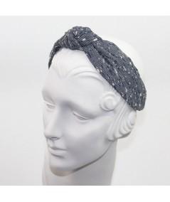 Dior Blue Boucle or Tweed Wool Center Turban Headband